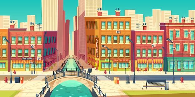 Distrito de la ciudad vieja en la metrópoli moderna de dibujos animados