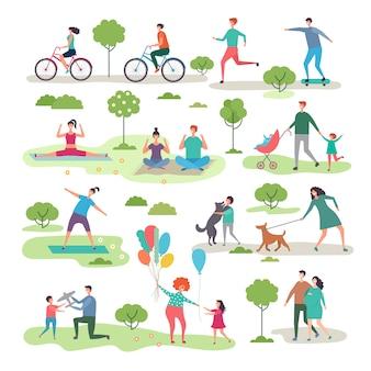 Diversas actividades al aire libre en el parque urbano.