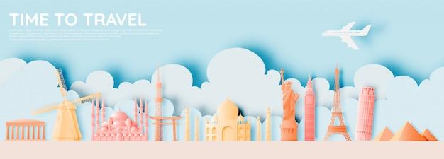 Diversas atracciones de viaje en papel estilo art