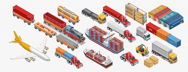 Diversas instalaciones de transporte y almacenamiento de mercancías.