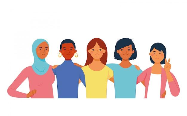 Diversas mujeres diferentes raza, piel, religión, cultura y cabello en el día internacional de la mujer