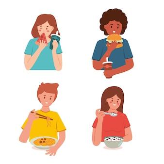 Diversas personas con comida