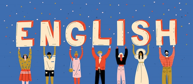Diversas personas con letras de la palabra inglés. aprender idioma extranjero
