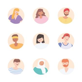 Diversas personas multirraciales y multiculturales, iconos de bloques redondos se enfrentan a personas de diversidad
