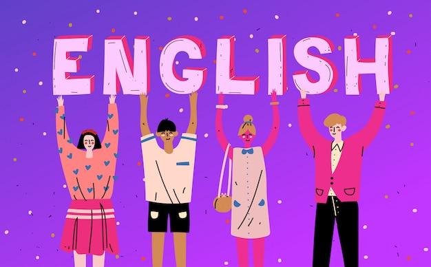Diversas personas sosteniendo letras palabra inglés
