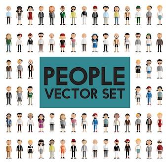 Diversidad comunidad personas plano diseño iconos concepto