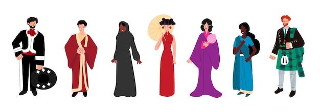 La diversidad étnica puso a las personas en trajes tradicionales de diferentes naciones.
