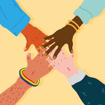 Diversidad manos humanos equipo juntos iconos ilustración