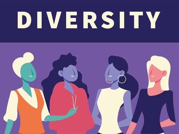 Diversidad mujeres retrato avatar personajes diseño ilustración vectorial