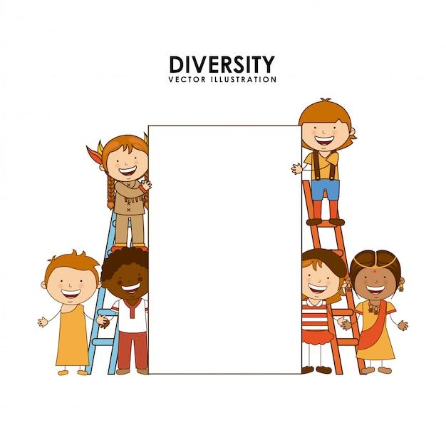 Diversidad de razas sobre fondo blanco.