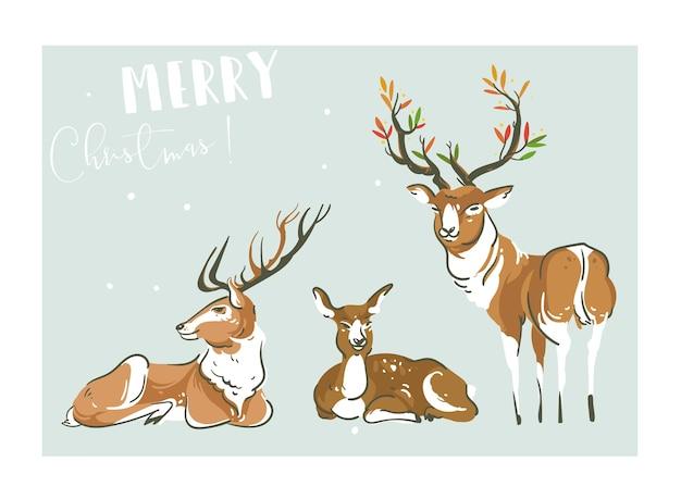 Diversión abstracta dibujada a mano feliz navidad tiempo colección de ilustraciones de dibujos animados con muchos ciervos y renos aislados sobre fondo azul