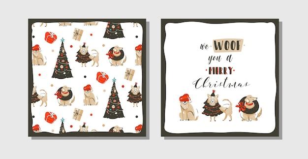 Diversión abstracta dibujada a mano feliz navidad tiempo colección de tarjetas de ilustración de dibujos animados con muchos perros en traje de vacaciones y árboles de navidad aislados sobre fondo blanco.