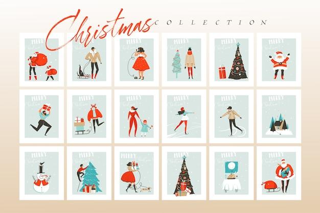 Diversión abstracta dibujada a mano feliz navidad tiempo ilustraciones de dibujos animados tarjetas de felicitación y fondos gran colección con cajas de regalo, personas y árbol de navidad aislado sobre fondo de artesanía