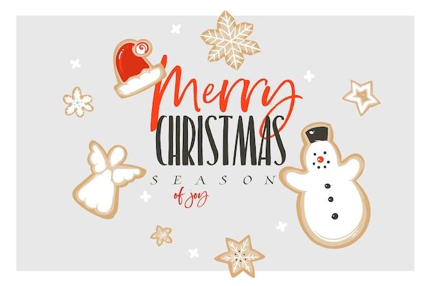 Diversión abstracta de vector dibujado a mano feliz navidad y feliz año nuevo tiempo tarjeta de felicitación de ilustración de dibujos animados con galletas de jengibre y texto de feliz navidad aislado sobre fondo blanco.