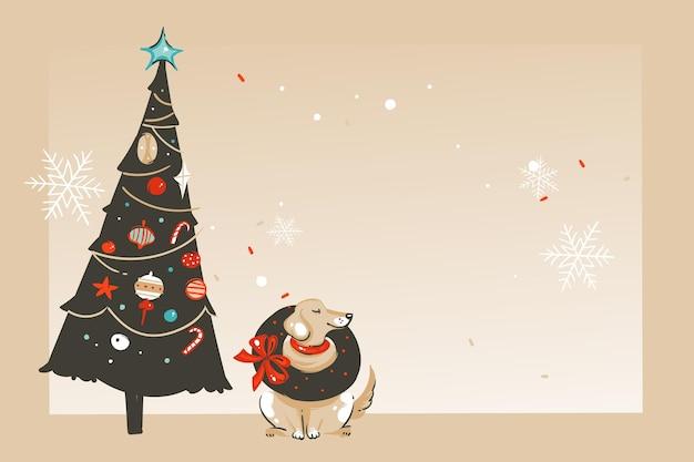 Diversión abstracta de vector dibujado a mano tarjeta de felicitación de ilustración de dibujos animados de feliz navidad tiempo con manos de personas, cajas de regalo sorpresa y caligrafía de navidad aislada sobre fondo de artesanía