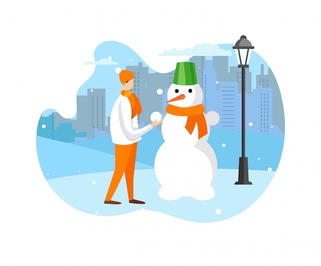 Diversión en el invierno y actividades al aire libre para niños.