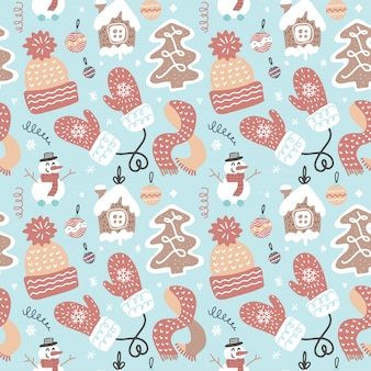 Diversión de invierno de patrones sin fisuras. tema decorativo tradicional de navidad.