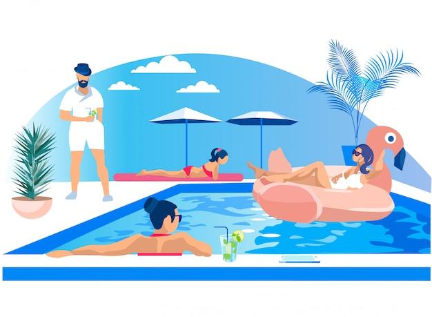 Diversión de los jóvenes en la fiesta de la piscina al aire libre