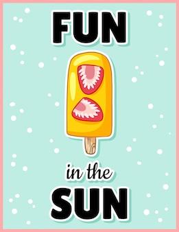 Diversión en el sol postal de dibujos animados lindo
