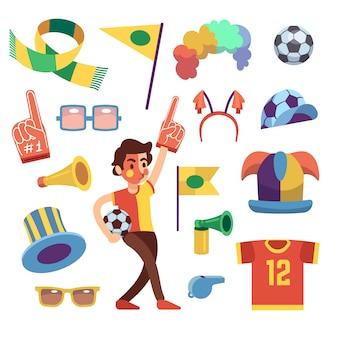 Diversiones deportivas de fútbol con herramientas para animar la victoria del equipo.