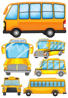 Diverso diseño de la ilustración del autobús escolar