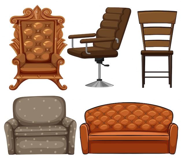 Diverso diseño de la ilustración sillas