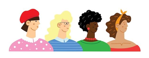 Diverso grupo internacional e interracial de mujeres de pie. para el concepto de poder de las niñas, ideas femeninas y feministas