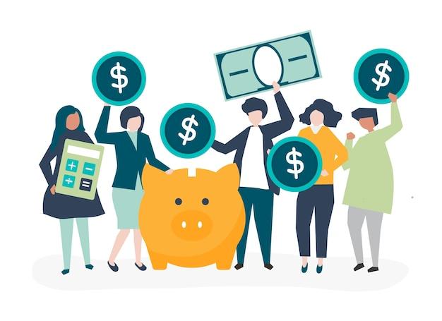 Diverso grupo de personas y la ilustración del concepto de ahorro