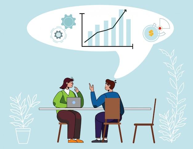 Diversos compañeros de trabajo discuten resumen de datos analíticos