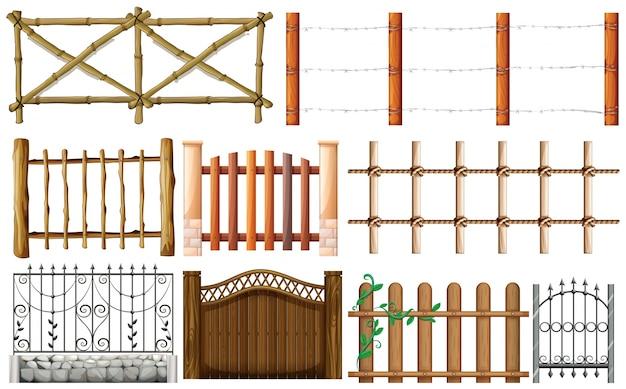 Diversos diseños de la ilustración de la cerca
