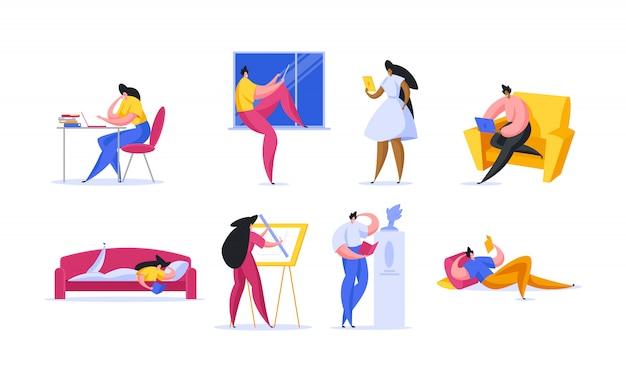 Diversos estudiantes modernos haciendo la tarea. ilustración de personas de dibujos animados