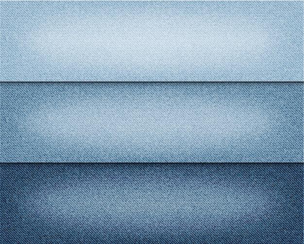 Diversos fondos azules de los vaqueros del color del vector fijados