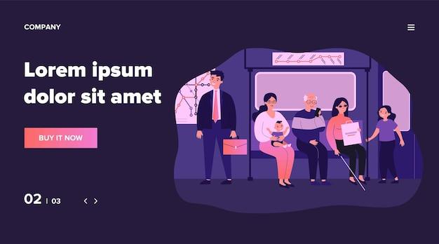 Diversos pasajeros en el metro. personas mayores, discapacitadas, mujer con bebé en la ilustración del asiento. transporte, concepto de sociedad para banner, sitio web o página web de destino