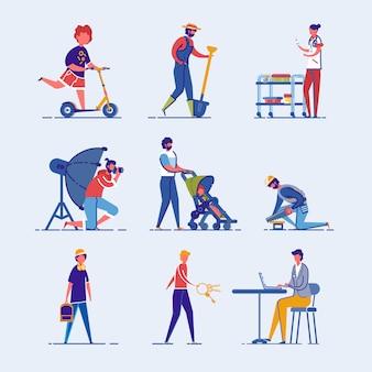 Diversos personajes de dibujos animados para adultos y niños.