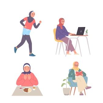 Diversos tipos de actividades de mujeres jóvenes que usan hijab hacen deporte, estudian, leen y comen