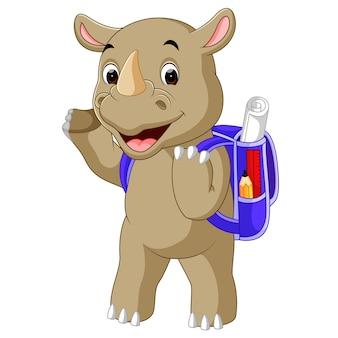 Divertida caricatura de rinoceronte ir a la escuela