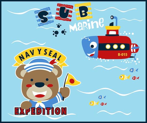 Divertida caricatura submarina con pequeño marinero