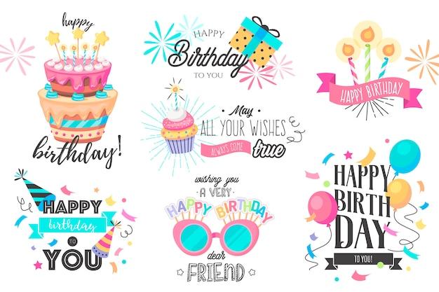 Divertida colección de cumpleaños dibujada a mano