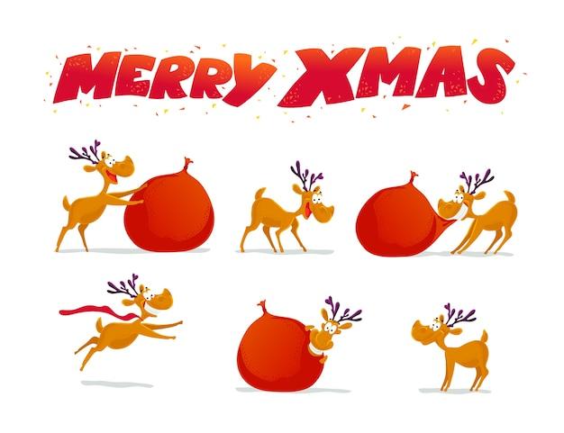 Divertida colección de retratos de personajes de renos sobre fondo blanco. . elementos de decoración de navidad. tarjeta de feliz navidad y próspero año nuevo.