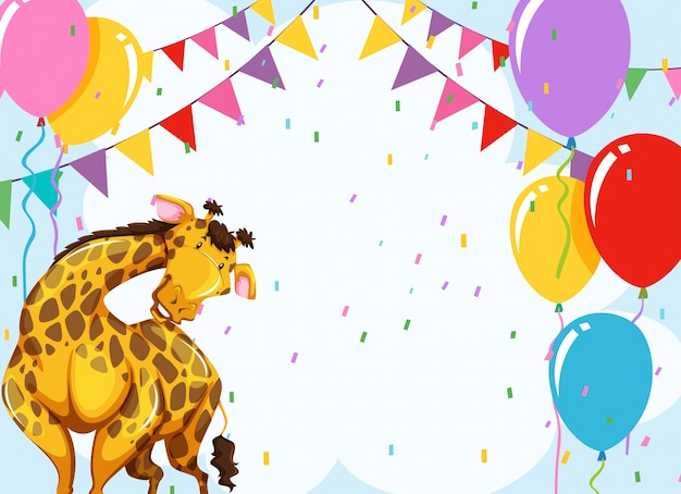 Divertida escena de fiesta jirafa