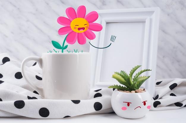 Divertida escena de taza y plantas ilustradas interactuando