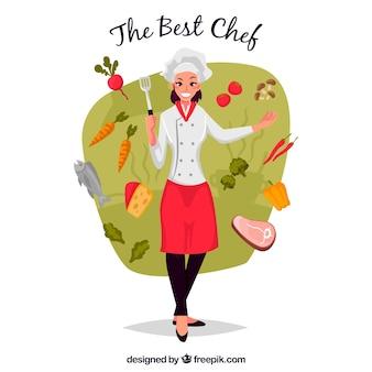 Divertida ilustración de cocinera con ingredientes