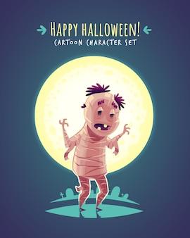 Divertida momia egipcia de halloween. ilustración de personaje