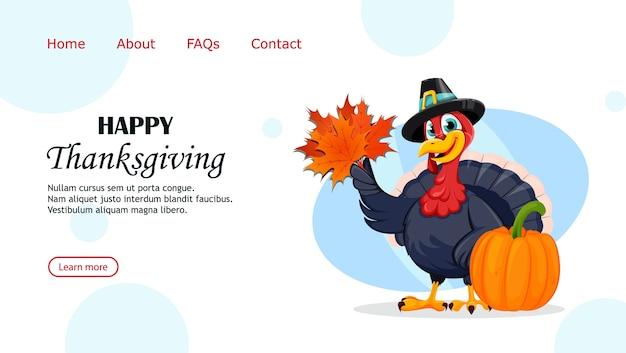 Divertida página de aterrizaje del pájaro de acción de gracias