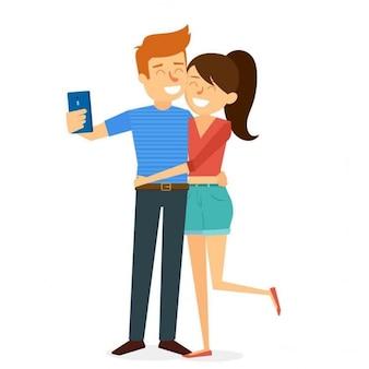 Divertida pareja haciéndose un selfie