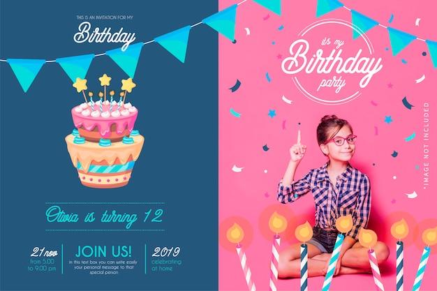 Divertida plantilla de invitación de cumpleaños con decoración dibujada a mano
