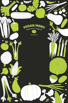 Divertida plantilla de vegetales dibujados a mano. comida. estilo de grabado en linóleo. comida sana