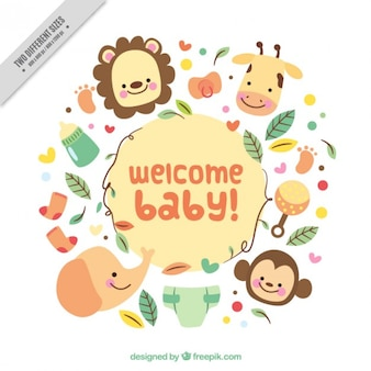 Divertida tarjeta de bienvenida de bebé con bonitos animales