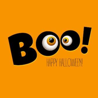 Divertida tarjeta de felicitación de halloween monstruo ojos.