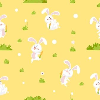 Divertidas ilustraciones vectoriales con lindos conejitos y zanahorias.